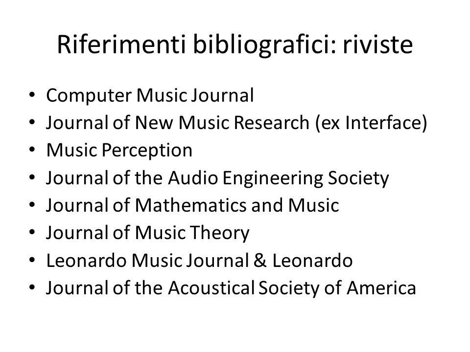 Riferimenti bibliografici: riviste