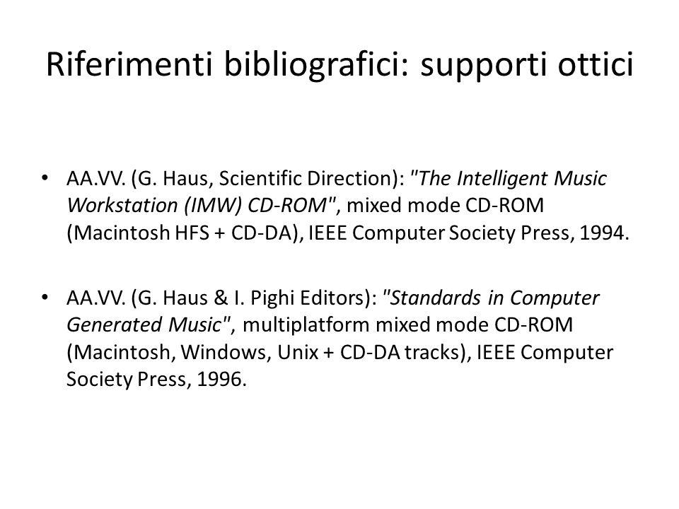 Riferimenti bibliografici: supporti ottici