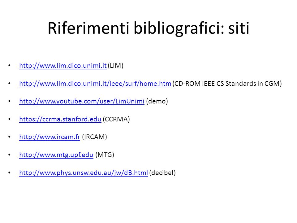 Riferimenti bibliografici: siti