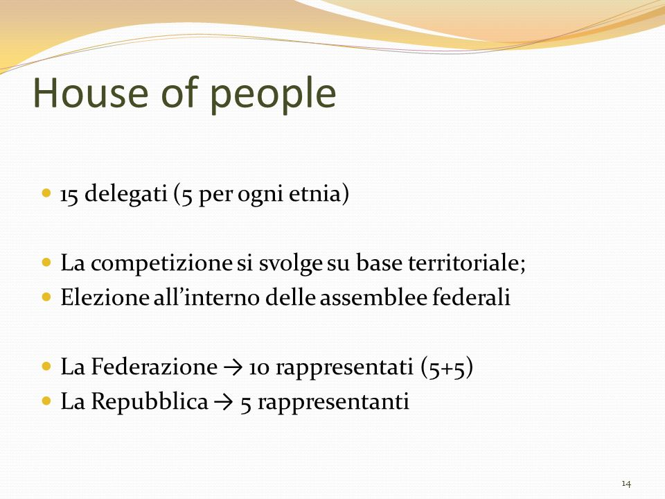 House of people 15 delegati (5 per ogni etnia)