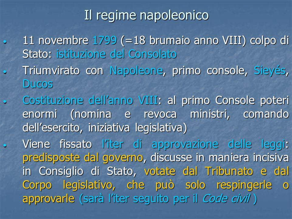 Il regime napoleonico 11 novembre 1799 (=18 brumaio anno VIII) colpo di Stato: istituzione del Consolato.