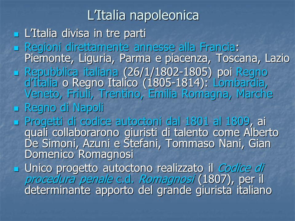 L'Italia napoleonica L'Italia divisa in tre parti
