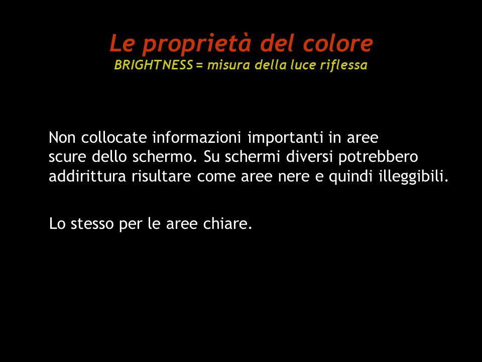Le proprietà del colore BRIGHTNESS = misura della luce riflessa