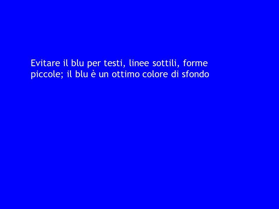 Evitare il blu per testi, linee sottili, forme piccole; il blu è un ottimo colore di sfondo
