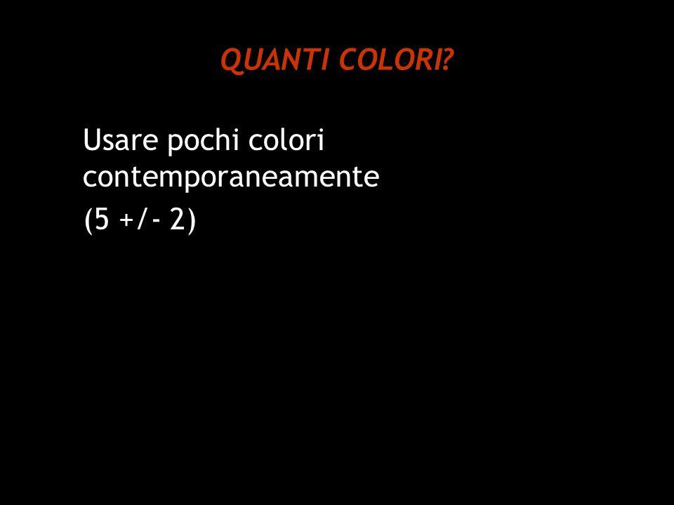 QUANTI COLORI Usare pochi colori contemporaneamente (5 +/- 2)