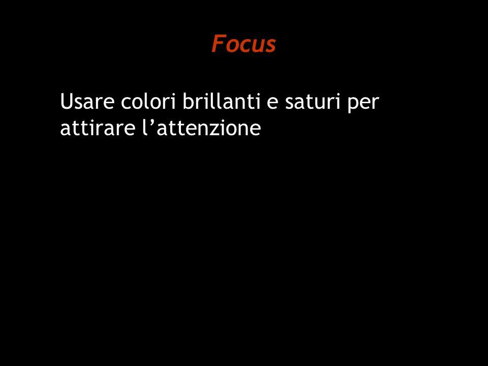 Focus Usare colori brillanti e saturi per attirare l'attenzione