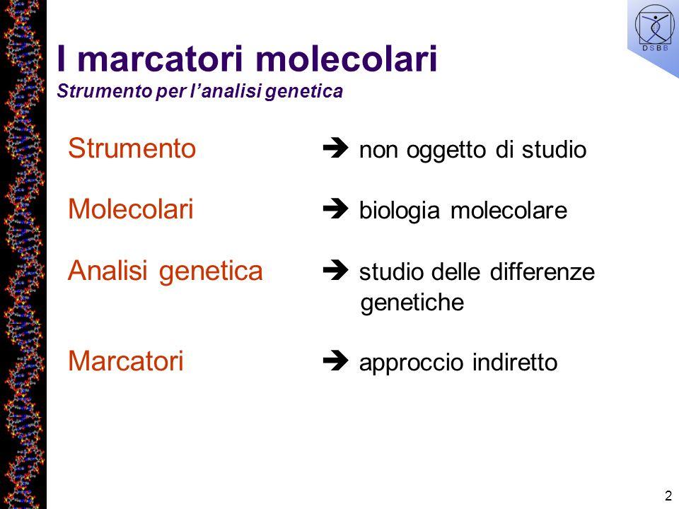 I marcatori molecolari Strumento per l'analisi genetica