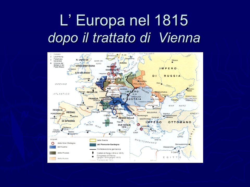 L' Europa nel 1815 dopo il trattato di Vienna