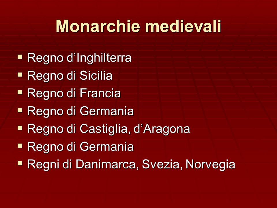 Monarchie medievali Regno d'Inghilterra Regno di Sicilia