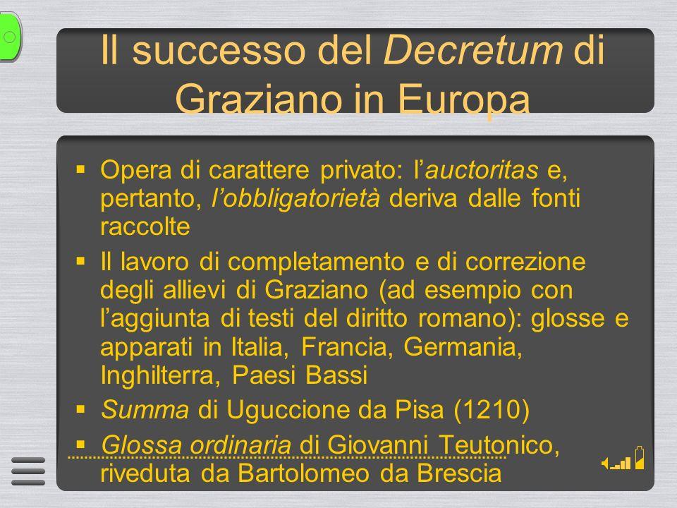 Il successo del Decretum di Graziano in Europa