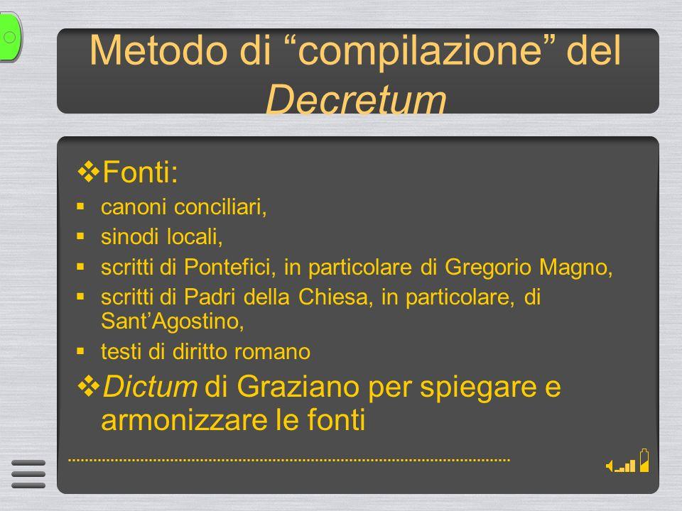 Metodo di compilazione del Decretum
