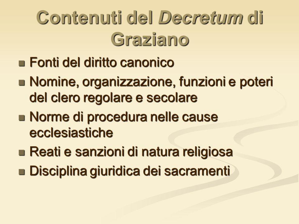 Contenuti del Decretum di Graziano