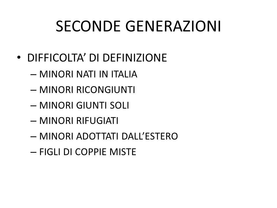 SECONDE GENERAZIONI DIFFICOLTA' DI DEFINIZIONE MINORI NATI IN ITALIA