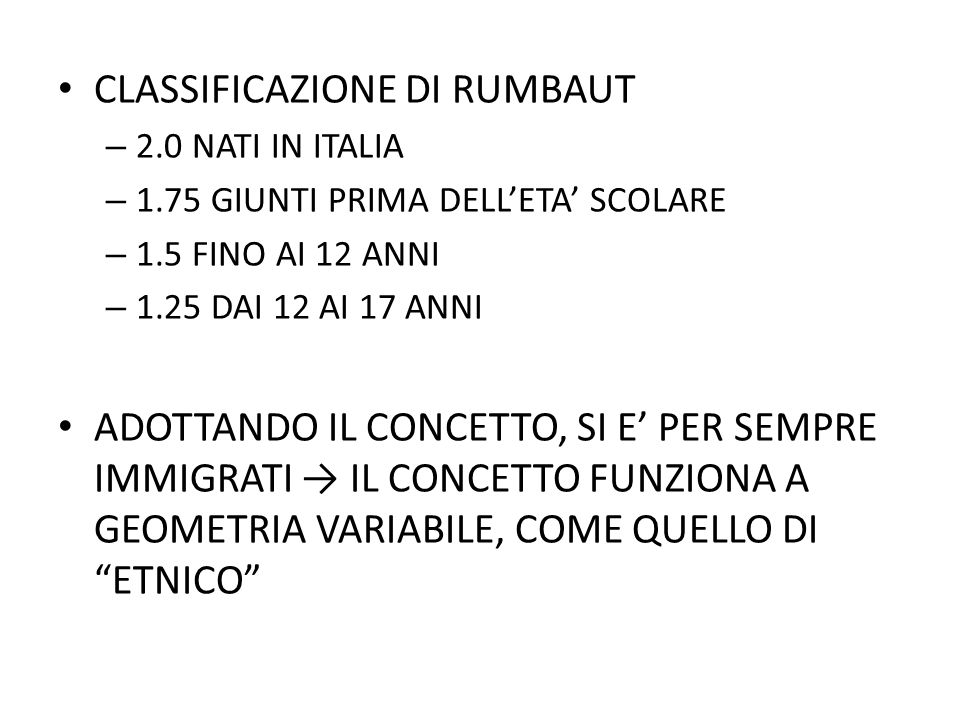 CLASSIFICAZIONE DI RUMBAUT