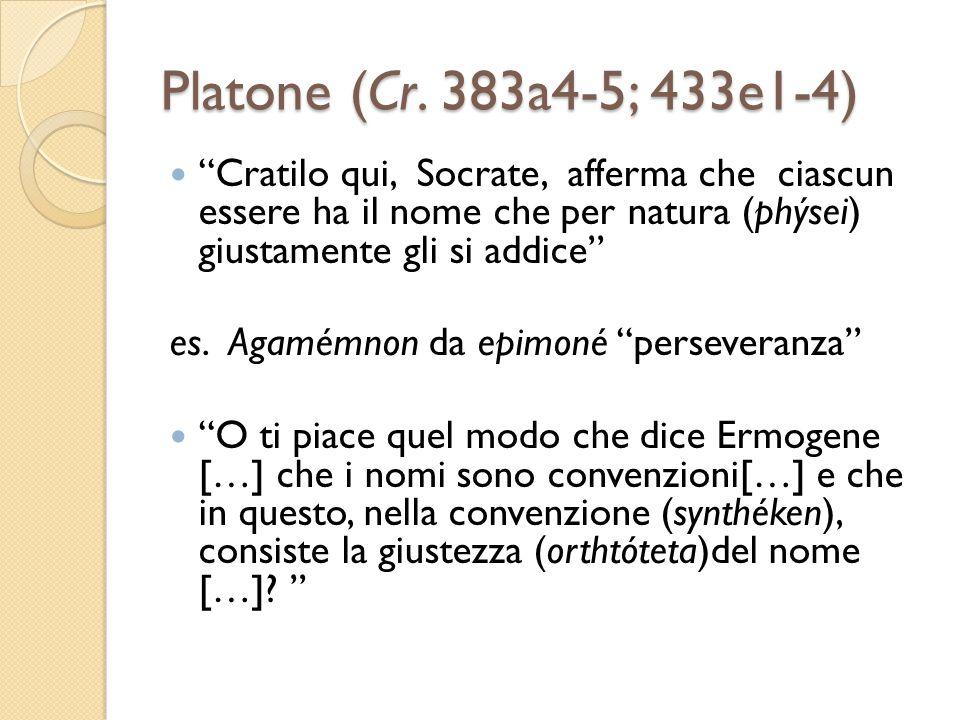 Platone (Cr. 383a4-5; 433e1-4) Cratilo qui, Socrate, afferma che ciascun essere ha il nome che per natura (phýsei) giustamente gli si addice