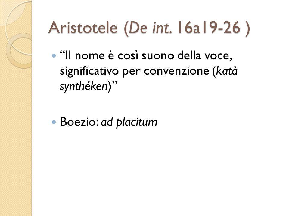Aristotele (De int. 16a19-26 ) Il nome è così suono della voce, significativo per convenzione (katà synthéken)