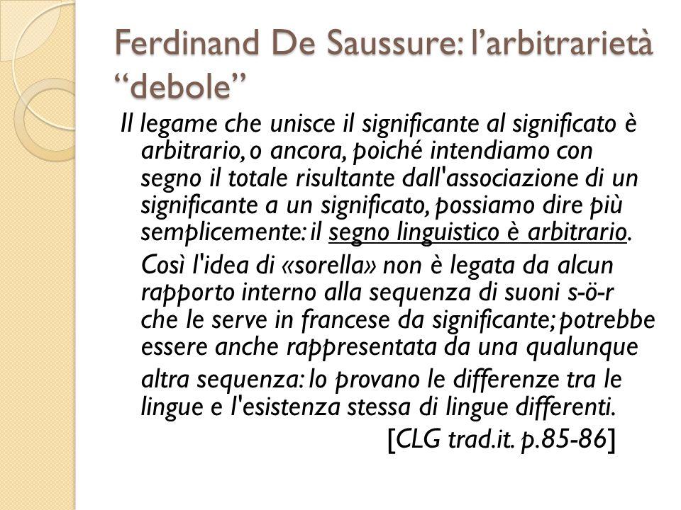 Ferdinand De Saussure: l'arbitrarietà debole