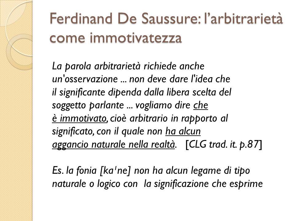 Ferdinand De Saussure: l'arbitrarietà come immotivatezza