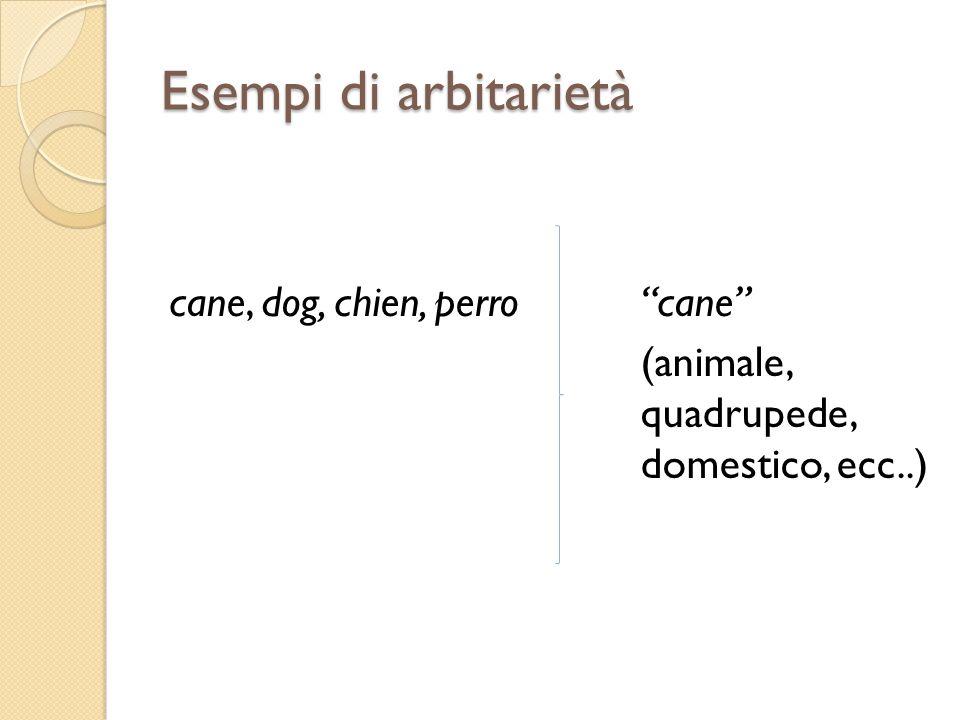 Esempi di arbitarietà cane, dog, chien, perro cane (animale, quadrupede, domestico, ecc..)