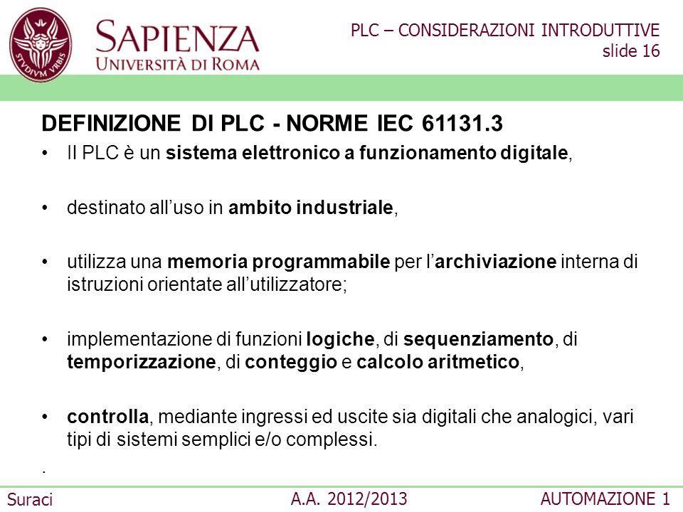 DEFINIZIONE DI PLC - NORME IEC 61131.3