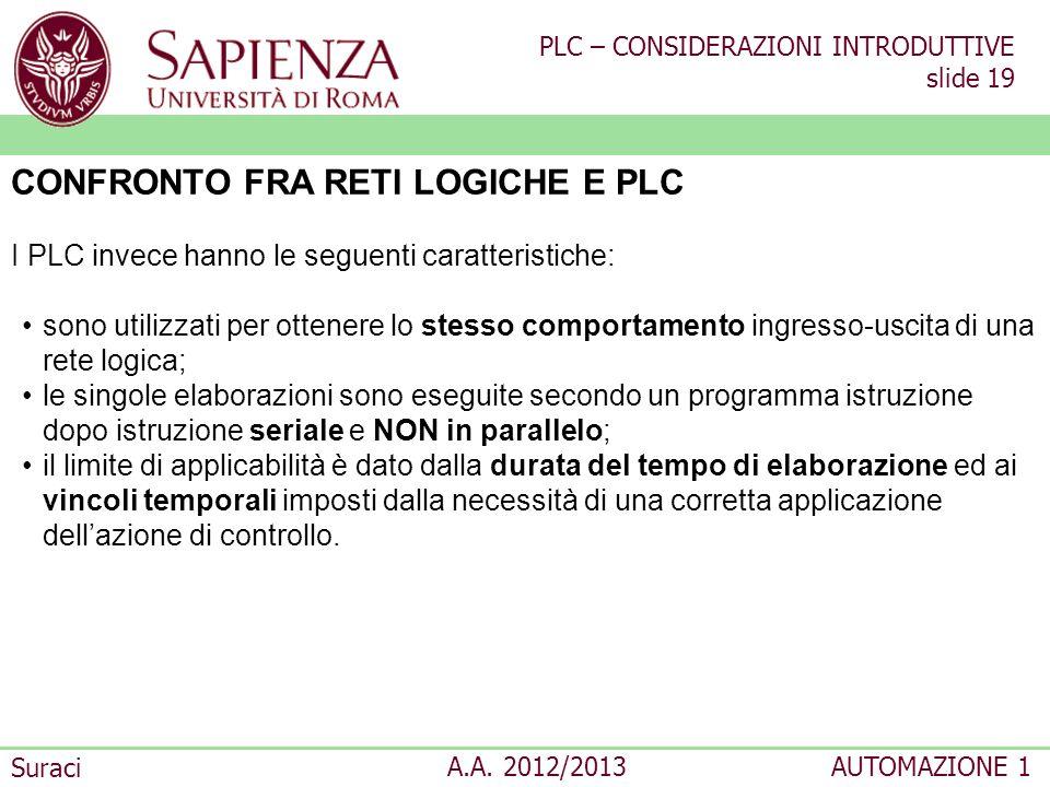 CONFRONTO FRA RETI LOGICHE E PLC