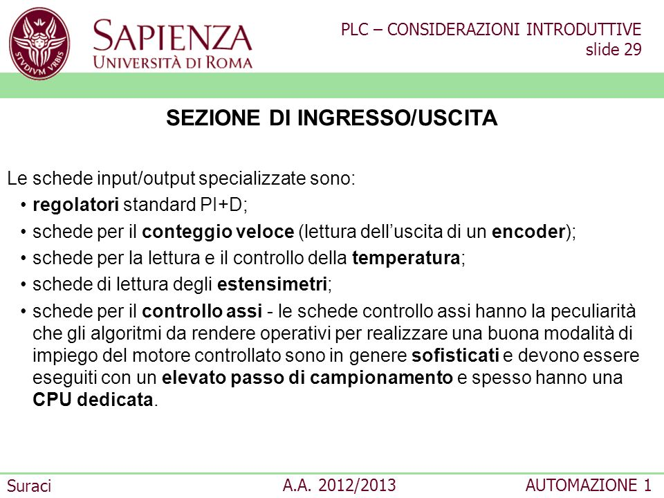 SEZIONE DI INGRESSO/USCITA