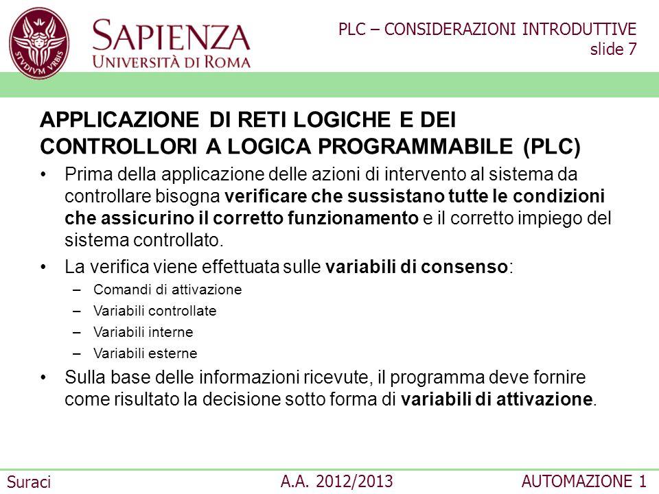 APPLICAZIONE DI RETI LOGICHE E DEI CONTROLLORI A LOGICA PROGRAMMABILE (PLC)