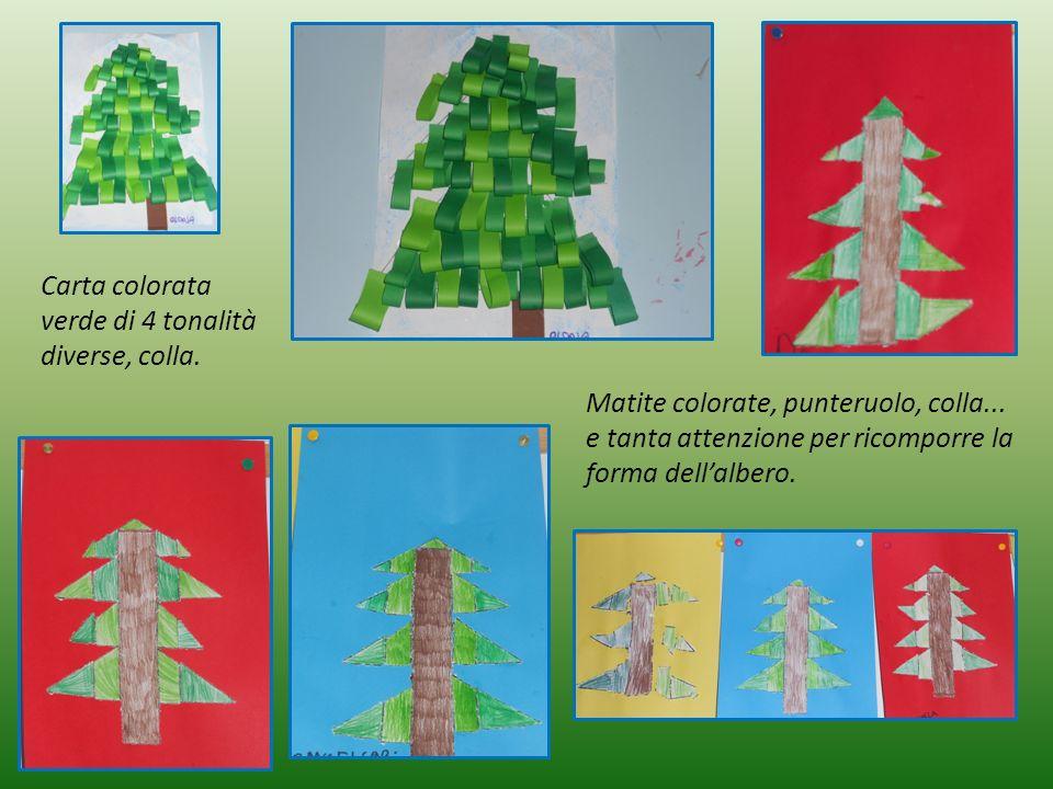 Carta colorata verde di 4 tonalità diverse, colla.