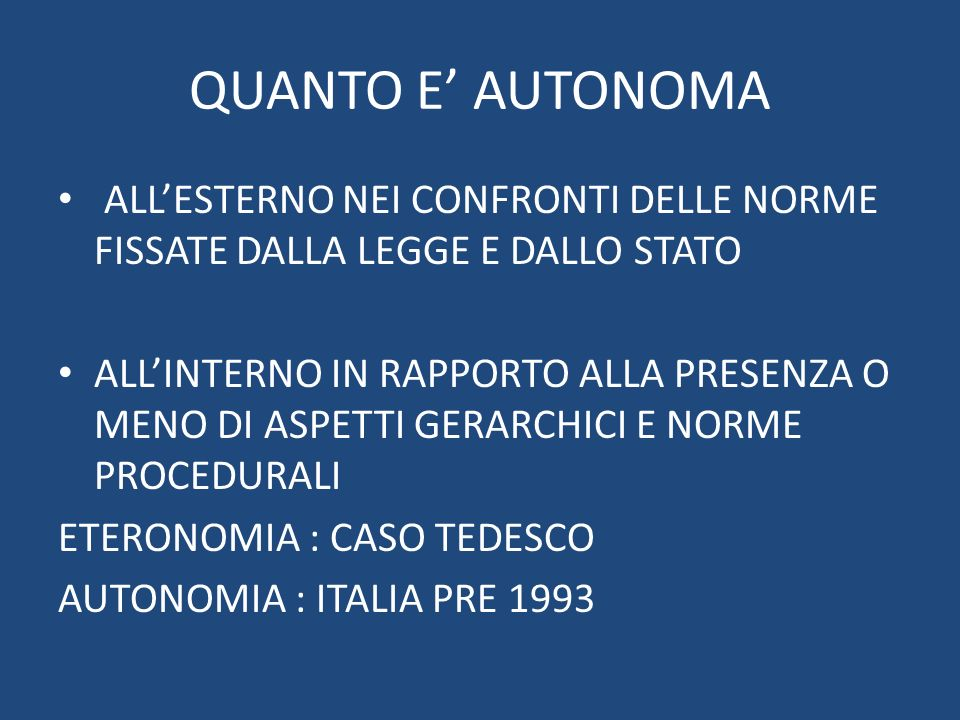 QUANTO E' AUTONOMA ALL'ESTERNO NEI CONFRONTI DELLE NORME FISSATE DALLA LEGGE E DALLO STATO.