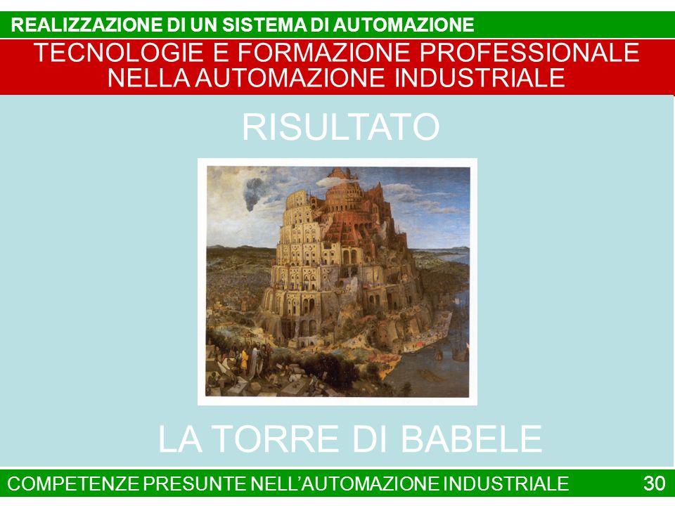 TECNOLOGIE E FORMAZIONE PROFESSIONALE NELLA AUTOMAZIONE INDUSTRIALE