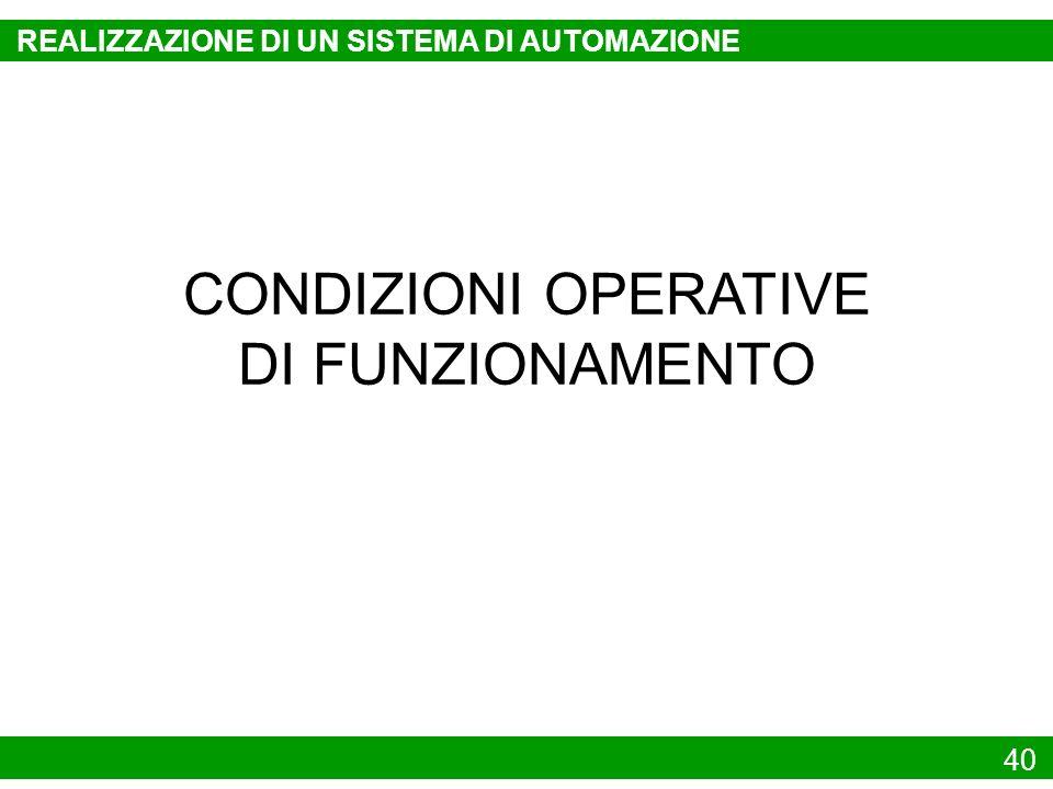 CONDIZIONI OPERATIVE DI FUNZIONAMENTO