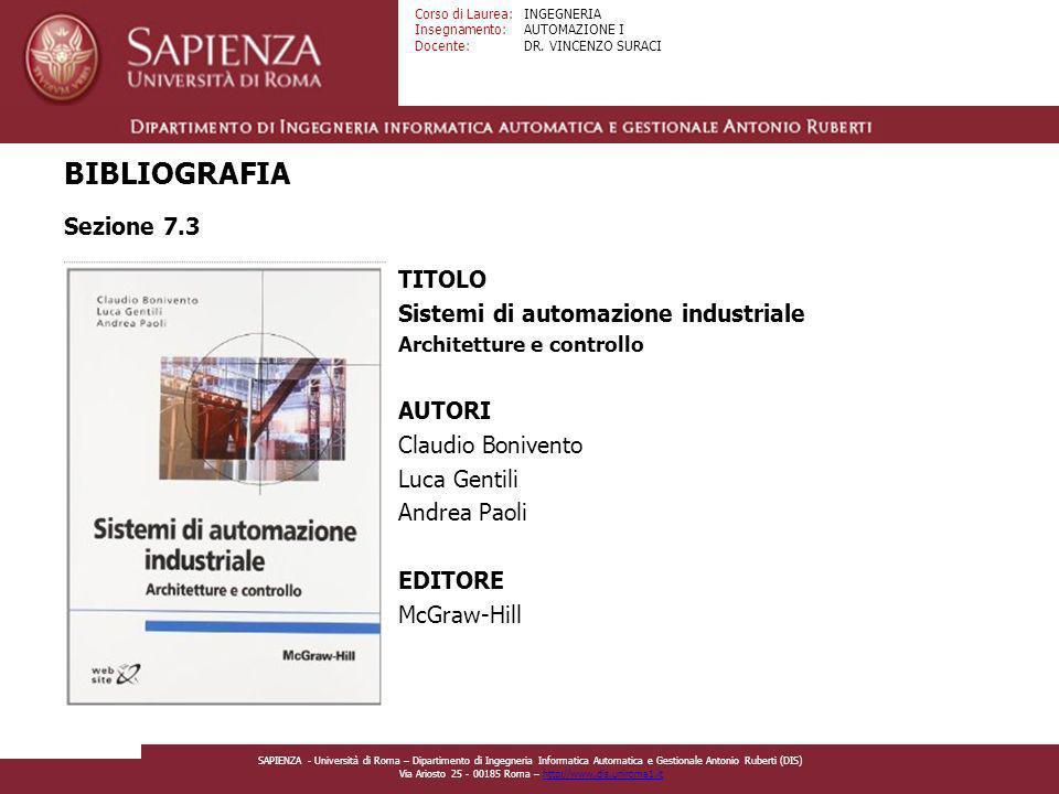 BIBLIOGRAFIA Sezione 7.3 TITOLO Sistemi di automazione industriale