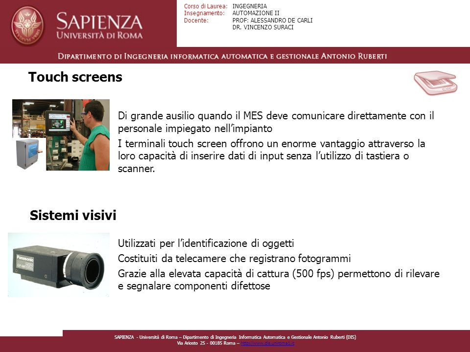 Touch screens Sistemi visivi