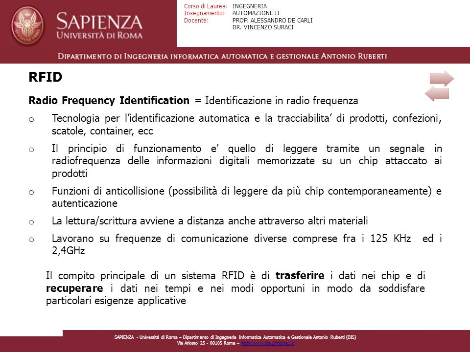 RFID Radio Frequency Identification = Identificazione in radio frequenza.