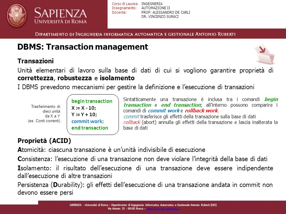 DBMS: Transaction management