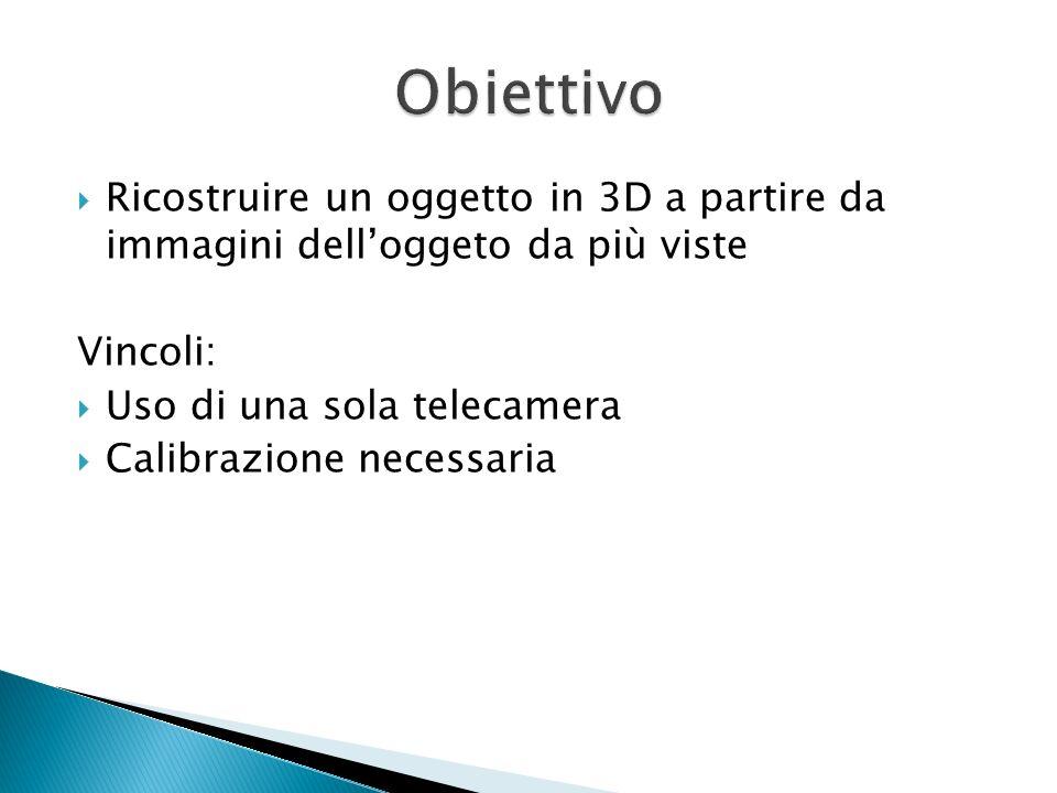 Obiettivo Ricostruire un oggetto in 3D a partire da immagini dell'oggeto da più viste. Vincoli: Uso di una sola telecamera.