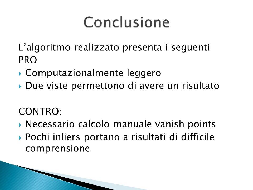 Conclusione L'algoritmo realizzato presenta i seguenti PRO