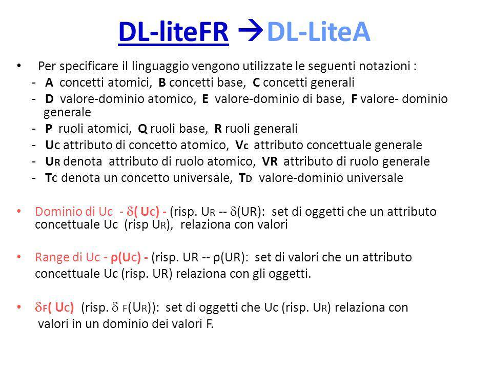 DL-liteFR DL-LiteA Per specificare il linguaggio vengono utilizzate le seguenti notazioni :