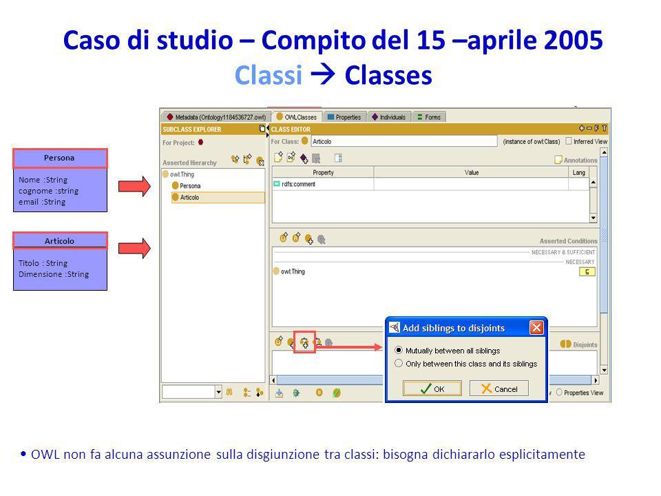 Caso di studio – Compito del 15 –aprile 2005 Classi  Classes