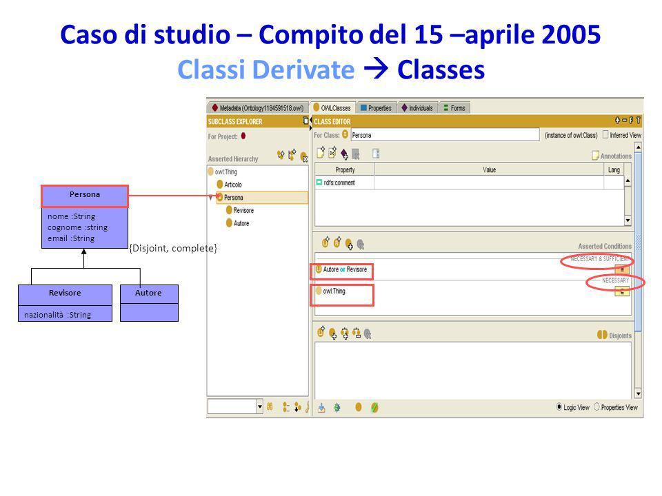 Caso di studio – Compito del 15 –aprile 2005 Classi Derivate  Classes