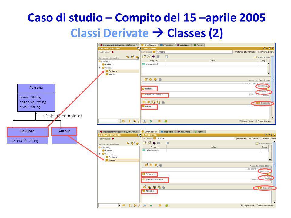 Caso di studio – Compito del 15 –aprile 2005 Classi Derivate  Classes (2)