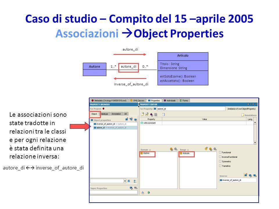 Caso di studio – Compito del 15 –aprile 2005 Associazioni Object Properties