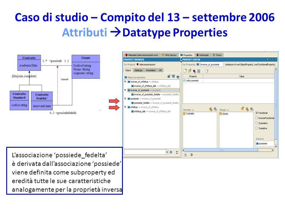 Caso di studio – Compito del 13 – settembre 2006 Attributi Datatype Properties