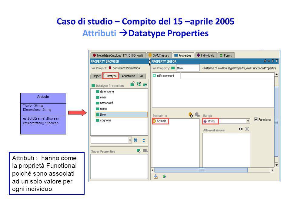 Caso di studio – Compito del 15 –aprile 2005 Attributi Datatype Properties