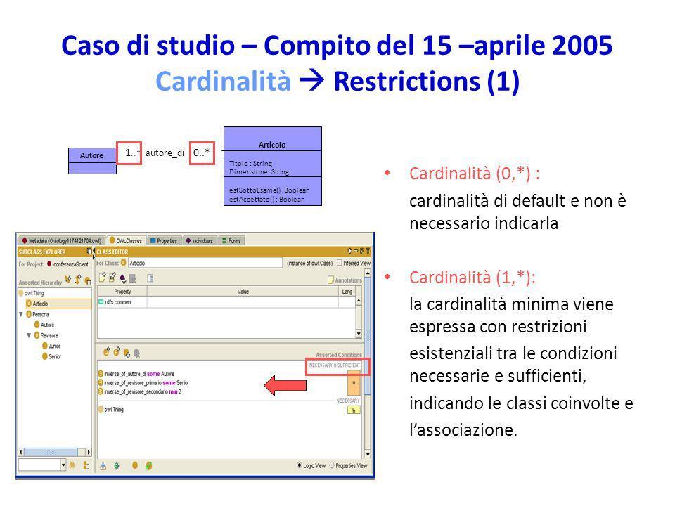 Caso di studio – Compito del 15 –aprile 2005 Cardinalità  Restrictions (1)