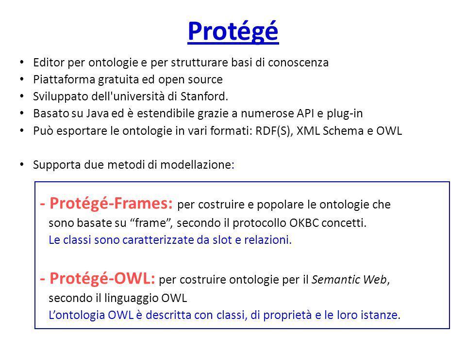 Protégé - Protégé-Frames: per costruire e popolare le ontologie che