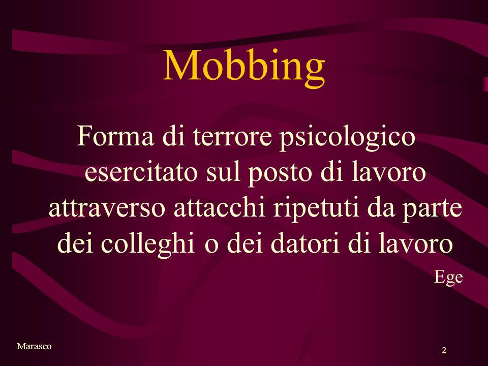 Mobbing Forma di terrore psicologico esercitato sul posto di lavoro attraverso attacchi ripetuti da parte dei colleghi o dei datori di lavoro.