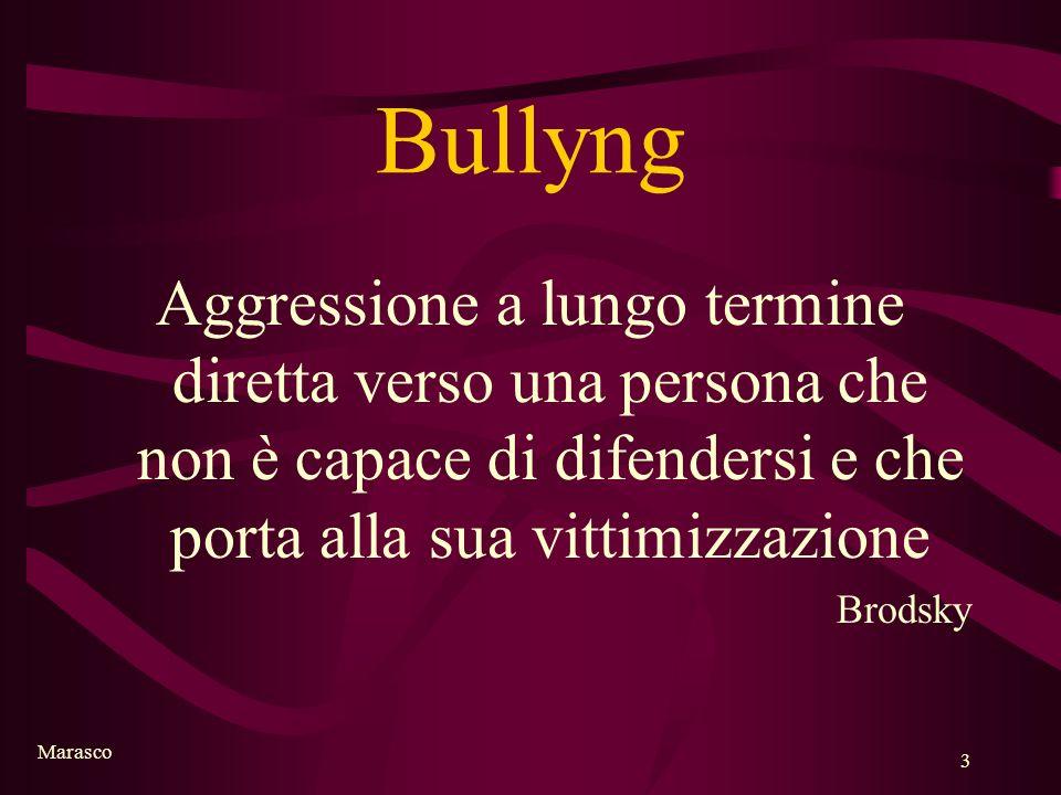 Bullyng Aggressione a lungo termine diretta verso una persona che non è capace di difendersi e che porta alla sua vittimizzazione.