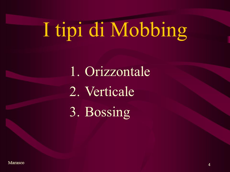 I tipi di Mobbing Orizzontale Verticale Bossing Marasco
