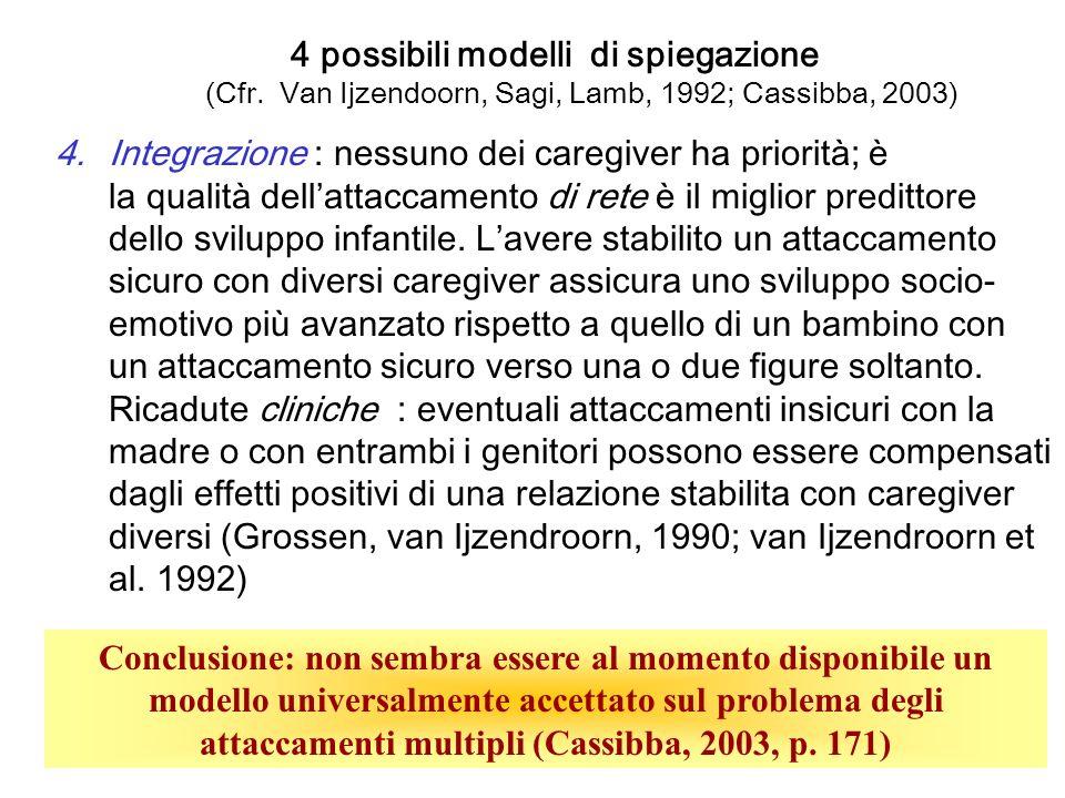 4 possibili modelli di spiegazione (Cfr